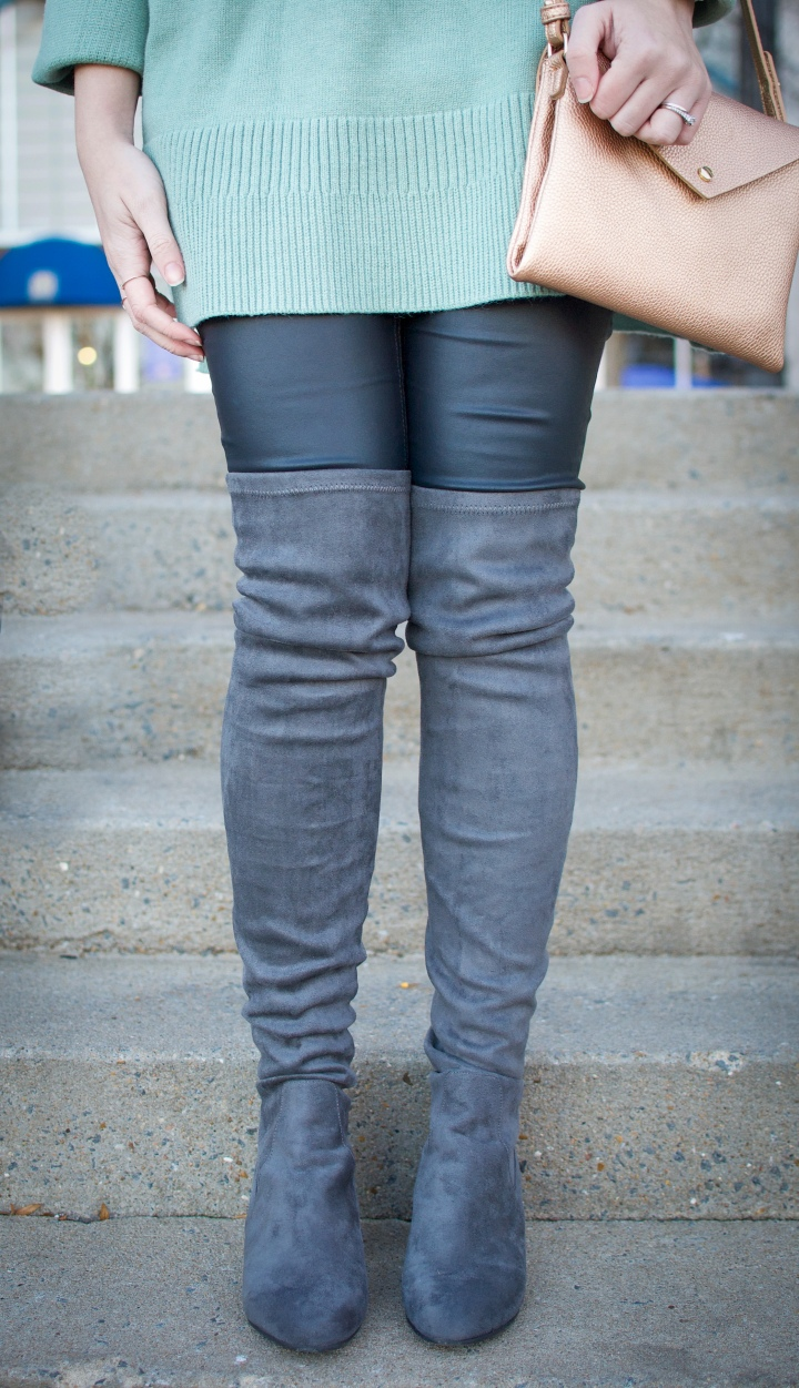 Over the Knee Boots and Crossbody