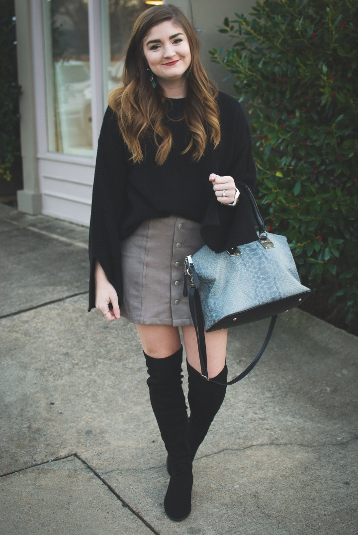 Black sweater, suede skirt & over the knee boots