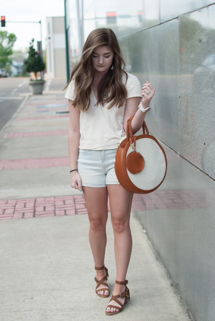 Wrap top and denim shorts