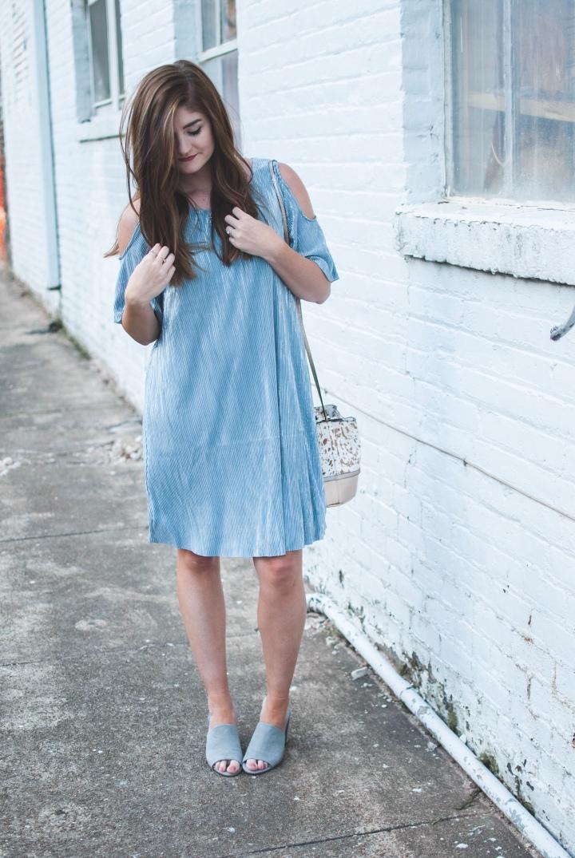 Misty metallic blue dress