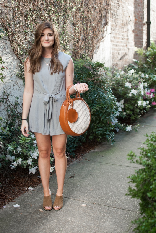 Grey romper and straw circle bag